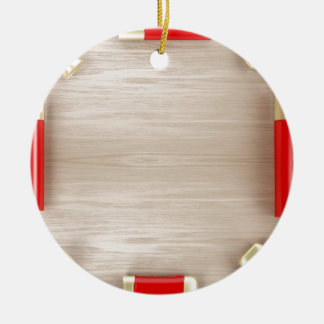 Cosmetic products on wooden table ceramic ornament