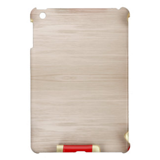 Cosmetic products on wooden table cover for the iPad mini