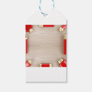 Cosmetic products on wooden table gift tags