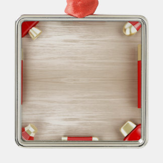 Cosmetic products on wooden table metal ornament