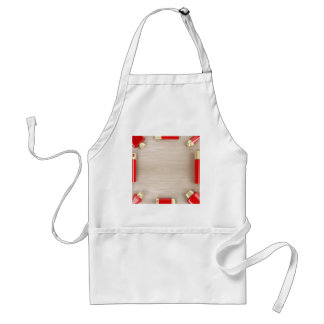 Cosmetic products on wooden table standard apron