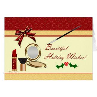 Cosmetics Makeup Christmas Holiday Card