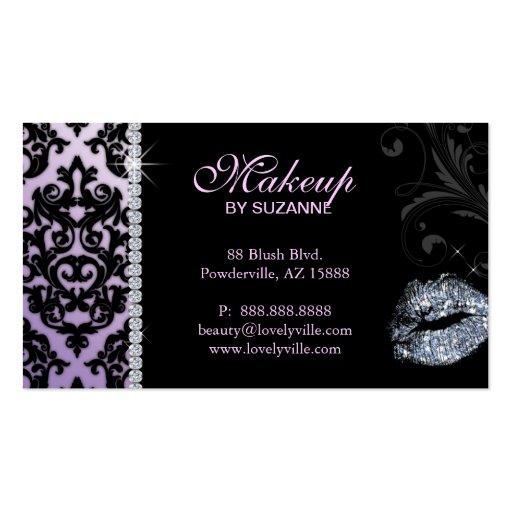 Cosmetologist business card damask glitter purple zazzle for Business cards for cosmetologist
