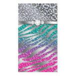Cosmetologist Business Card Glitter Zebra Pink S