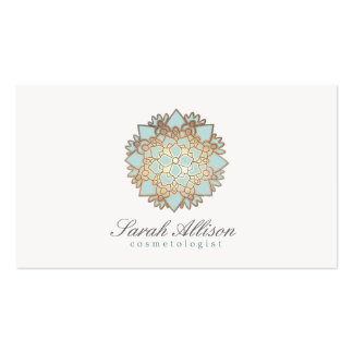 Cosmetologist Elegant and Simple Blue Lotus Business Card Template