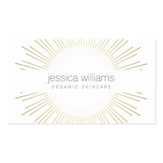 Cosmetologist élégant de rayon de soleil d'or de carte de visite standard