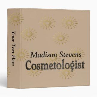 Cosmetologist Elegant Gold Flower Pattern 3 Ring Binder
