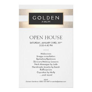Cosmetologist Gold Stripes Hair Salon and Spa Custom Flyer