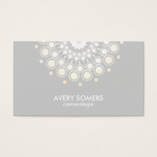 Cosmetologist Ornate Circle Motif Grey Modern Business Card