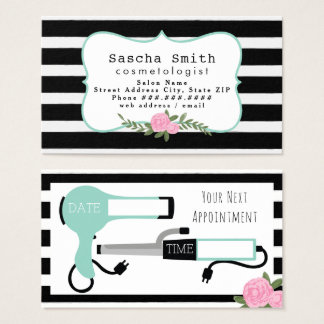 Cosmetologist Salon Black White Floral Business Card