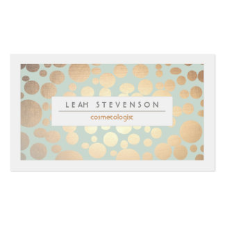 Cosmetology Beauty Turquoise Gold Leaf  Look Pack Of Standard Business Cards
