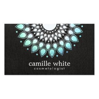 Cosmetology Elegant Circle Light Blue Black Linen Business Cards