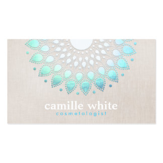 Cosmetology Elegant Circle Light Blue Linen Look Business Card Templates