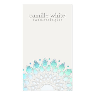 Cosmetology Elegant Circle Light Blue Off-White Business Card