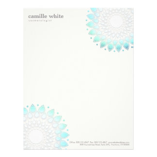 Cosmetology Elegant Circle Light Blue Off-White Letterhead
