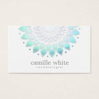 Cosmetology Elegant Circle Motif Light Blue White Business Card