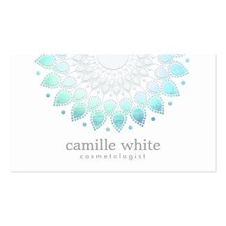 Cosmetology Elegant Circle Motif Light Blue White Pack Of Standard Business Cards
