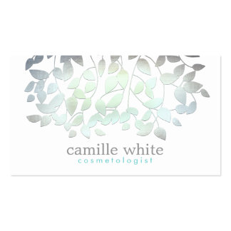 Cosmetology Faux Blue Green Foil Leaves White Business Card