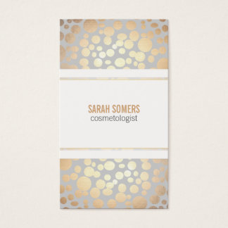 Cosmetology Faux Gold Leaf Light Gray Business Card