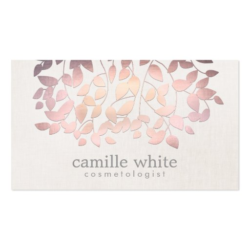 Cosmetology Faux Pink Foil Leaves Linen Look Business Card Templates