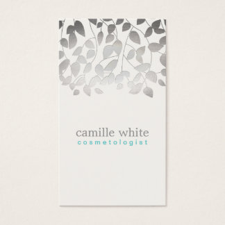 Cosmetology FAUX Silver Leaves Spa and Beauty Business Card