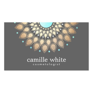 Cosmetology Gold Ornate Motif Gray Business Card Template