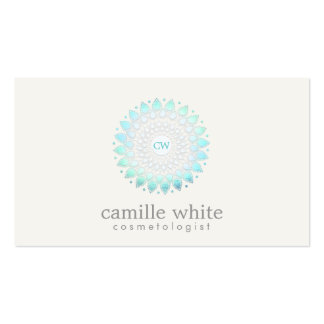 Cosmetology Monogrammed Light Blue Ornate Motif Business Card