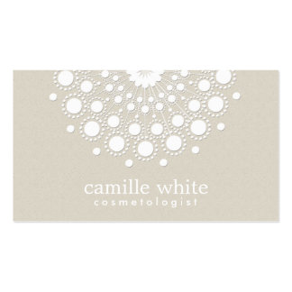Cosmetology Pretty White Circle Beige Texture Look Double-Sided Standard Business Cards (Pack Of 100)
