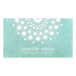 Cosmetology Pretty White Rosette Light Aqua Blue Double-Sided Standard Business Cards (Pack Of 100)