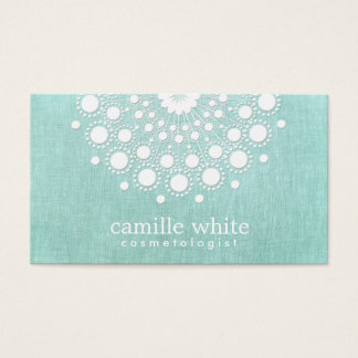 Cosmetology Pretty White Rosette Light Aqua Blue Business Card