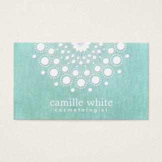 Cosmetology Pretty White Rosette Light Aqua Blue Business Card