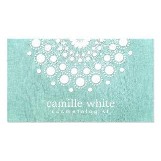 Cosmetology Pretty White Rosette Light Aqua Blue Pack Of Standard Business Cards