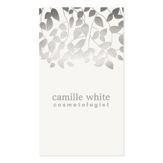 Cosmetology Silver Foil Embossed Look Leaves Gray Pack Of Standard Business Cards