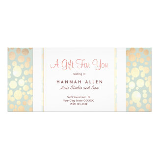 Cosmetology Spa Gold Circles Gift Certificate Personalized Rack Card