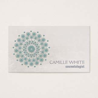 Cosmetology Teal Circle Ivory Texture Elegant Spa Business Card