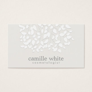 Cosmetology White Embossed Look Leaves Business Card