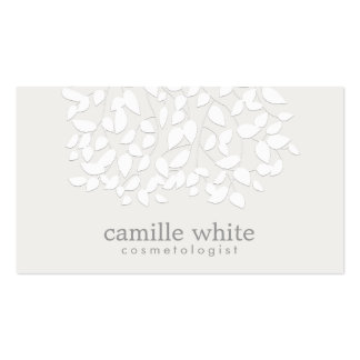 Cosmetology White Embossed Look Leaves Business Card Template