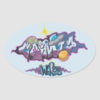 cosmic adventure oval sticker