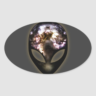 Cosmic Alien Oval Sticker