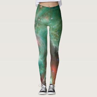 Cosmic Art Green Monkey Head Nebula SpaceHD Leggings