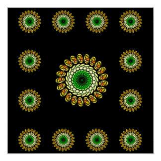 Cosmic Black Green Psychedelic Star Poster