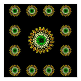 Cosmic Black Green Psychedelic Star Poster Perfect Poster