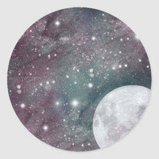 Cosmic Blue and Purple Moon Round Sticker