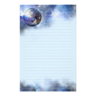 Cosmic Blue Yin Yang Lined Stationery