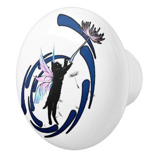 Cosmic Cat Dandelion Ceramic Knob