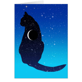 Cosmic Cat in Stars and Crescent Moon Pattern Card