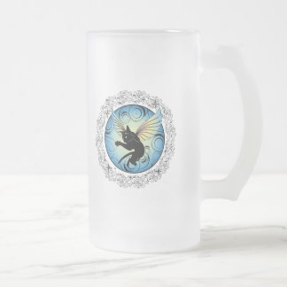 Cosmic Cat Moon and Stars Frosted Glass Beer Mug