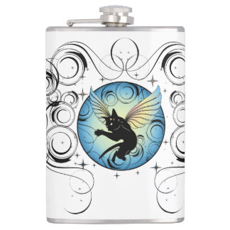 Cosmic Cat Moon and Stars Hip Flask