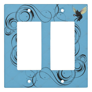 Cosmic Cat Moon and Stars Light Switch Cover