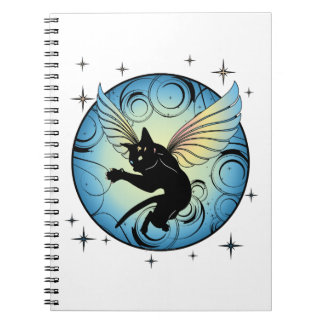 Cosmic Cat Moon and Stars Notebook
